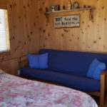 A cabin bed and futon