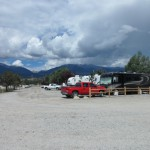 The RV campground with mountains in the background